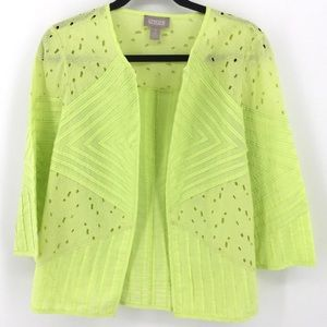 CHICOS 1 M Lime Green Blazer Jacket Blouse Lace